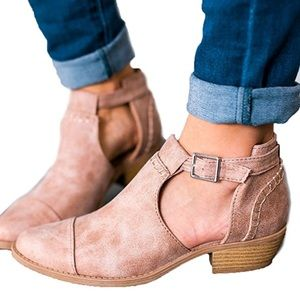 Shoes - Only a few left! Warm Taupe Open Buckle Booties